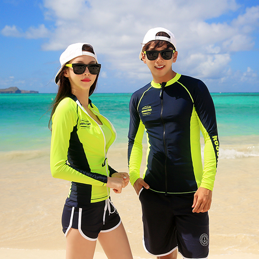 DIVE NEON&NAVY ZIP-UP COUPLE RASHGUARD (RT0041-2)[커플가격]