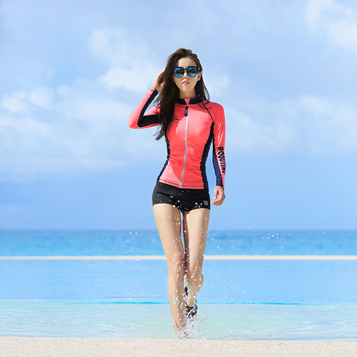 DIVE ORANGE ZIP-UP WOMAN RASHGUARD (RT0041-1) [~XL]