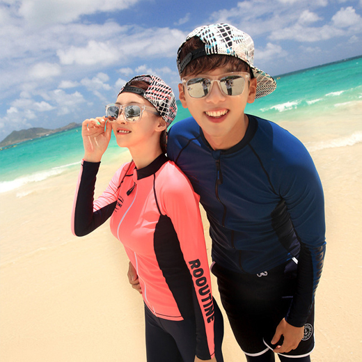 DIVE ORANGE&NAVY ZIP-UP COUPLE RASHGUARD (RT0041-1)[커플가격]
