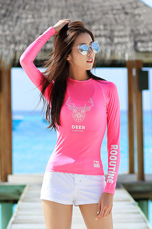 DEER PINK WOMAN RASHGUARD (RT0006) [S]
